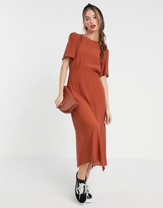 New Look spot split side midi dress in rust