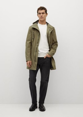 MANGO MAN - Pocket waterproof parka khaki - S - Men