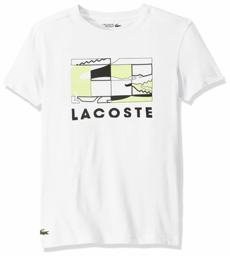 Lacoste Mens Sport Short Sleeve Graphic Squares Tee T-Shirt