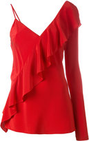 Diane von Furstenberg single sleeve ruffled blouse