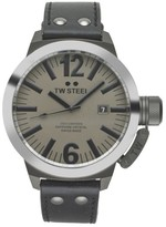 TW Steel Canteen CE1052 Sandblasted PVD Titanium / Leather Automatic 50mm Mens Watch