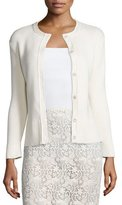 Nina Ricci Long-Sleeve Snap-Front Cardigan, Cream
