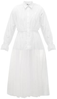 Noir Kei Ninomiya Panelled Tulle And Poplin Shirt Dress - White