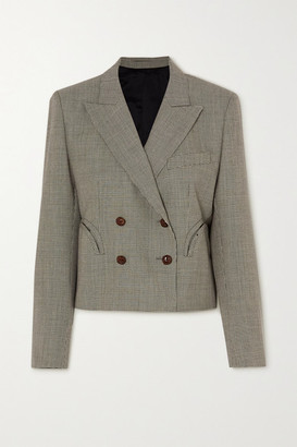 BLAZÉ MILANO Kentra Spencer Cropped Double-breasted Houndstooth Wool Blazer - Black