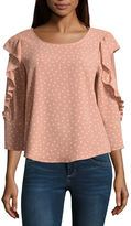 Almost Famous Long Sleeve Scoop Neck Crepe Blouse-Juniors