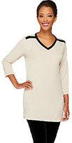 As Is Susan Graver Liquid Knit Color Block V-neck 3/4 Sleeve Top