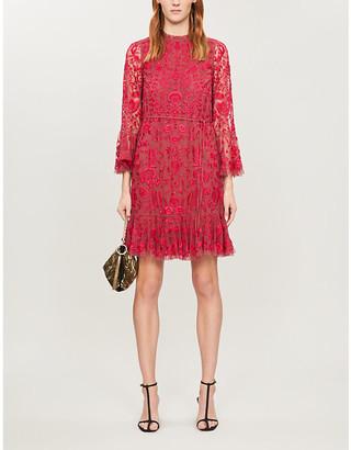 Selfridges Demetria floral-embroidered mesh mini dress