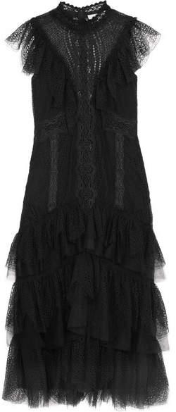 Jonathan Simkhai Tiered Ruffled Lace Dress - Black