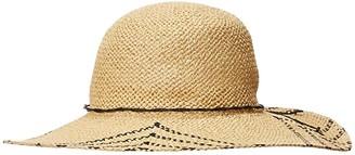 San Diego Hat Company PBL3095OS Woven Paper Sun Brim w/ Color Pop Pattern (Natural/Black) Caps