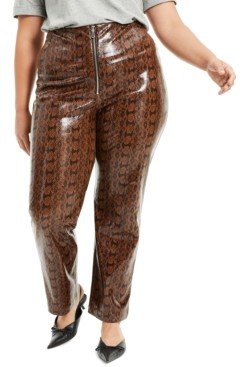Danielle Bernstein Plus Size Faux-Snakeskin Pants, Created for Macy's