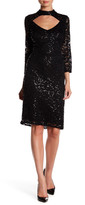 Marina Embellished Lace Mock Neck Dress