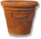 The Well Appointed House Weathered Outdoor Garden Planter with Flower Garland in Rust Finish