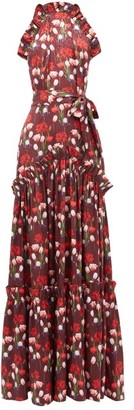 Borgo de Nor Tatiana Floral-print Ruffled Satin Dress - Womens - Burgundy