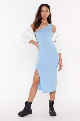 Nasty Gal Womens I'll Make Your Heart Race One Shoulder Maxi Dress - blue - 14
