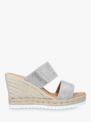 Carvela Klear Woven Wedge Suede Sandals, Silver