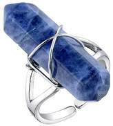 Women's Silver Plated Sodalite Stone Expandable Ring - Silver