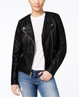 GUESS Geonna Quilted Faux-Leather Moto Jacket