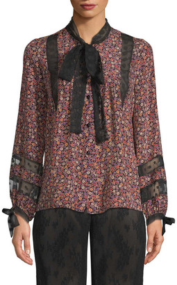 Anna Sui Woodland Flowers And Dot Mesh Blouse