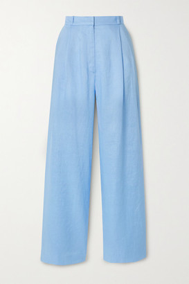 Miguelina Ainsley Linen Wide-leg Pants - Light blue