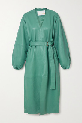 REMAIN Birger Christensen Vivian Belted Leather Midi Dress - Turquoise