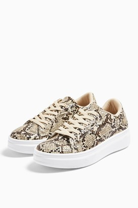Topshop Womens Cuba Snake Lace Up Trainers - Natural
