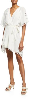 IRO Devo Embroidered-Trim Mini Wrap Dress