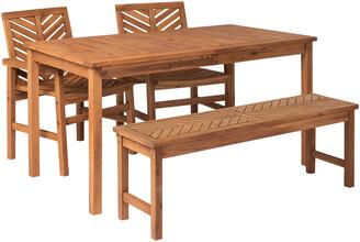 Hewson 4Pc Outdoor Patio Acacia Wood Dining Set