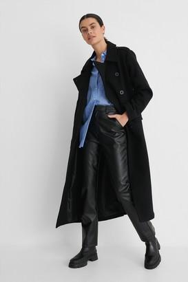 NA-KD Belted Long High Neck Coat