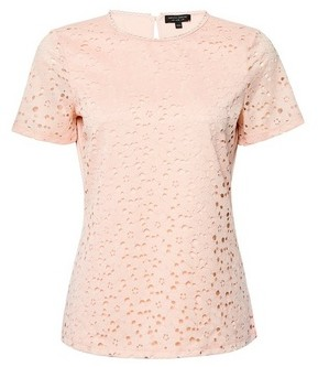 Dorothy Perkins Womens Peach Lace Fitted T
