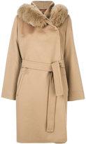 Max Mara Studio - fur trim hooded coat - women - Viscose/Virgin Wool - 42