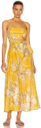 Zimmermann Amelie Scarf Tie Dress in Amber Floral | FWRD
