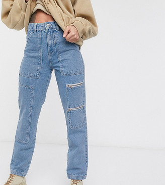 Collusion utility straight leg jeans with zip detail in blue
