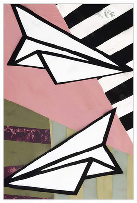 Jonathan Bass Studio Paper Planes Ii, Decorative Framed Canvas Art