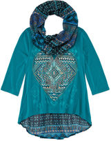 Knitworks Knit Works 3/4-Sleeve Hi-Lo Top with Printed Scarf - Girls 7-16 and Plus