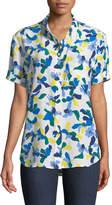 Equipment Betty Short-Sleeve Floral-Print Silk Blouse