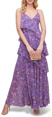 ASTR the Label High Slit Ruffle Floral Print Maxi Sundress