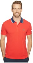 Lacoste Short Sleeve Semi-Fancy Bold Stripe Collar Polo Regular Men's Short Sleeve Pullover