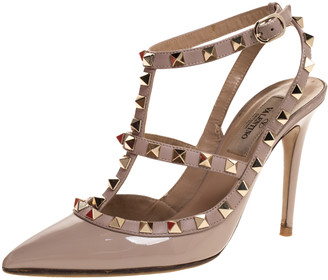Valentino Beige Patent Leather Rockstud Ankle Strap Sandals Size 36