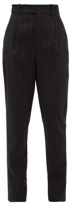 Saint Laurent Pinstriped High-rise Wool Trousers - Womens - Black White