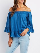 Charlotte Russe Chambray Ruffle-Trim Off-The-Shoulder Top