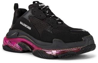 Balenciaga Triple S Sneaker in Black & Pink Neon   FWRD