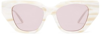 Gucci Crystal-embellished Cat-eye Acetate Sunglasses - Womens - Pink White