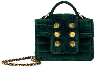Kooreloo Petite Faux Fur-Trimmed Velvet Top Handle Bag