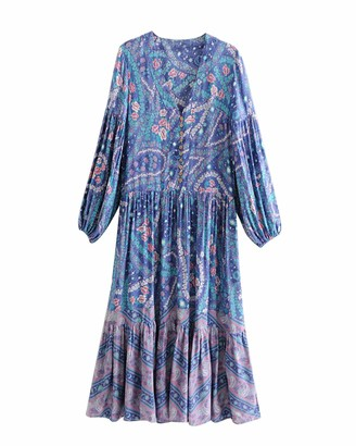 Top Vigor TOP-VIGOR Women's Casual Boho Dresses for Women Bohemian Long Sleeve Floral Print Retro Neck Tie Beach Style Long Midi Dress Light Purple
