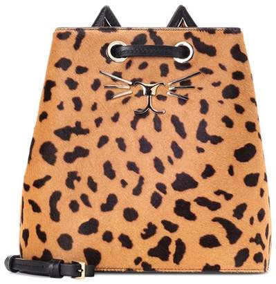 Charlotte Olympia Feline printed calf hair bucket bag