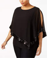 MSK Plus Size Sequined Cold-Shoulder Capelet Blouse