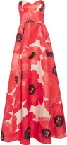 Lela Rose Strapless printed silk gown