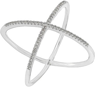 Carriere Sterling Silver Diamond Crisscross Ring - 0.16 ctw