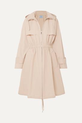 Prada Hooded Cotton-blend Poplin Trench Coat - Beige
