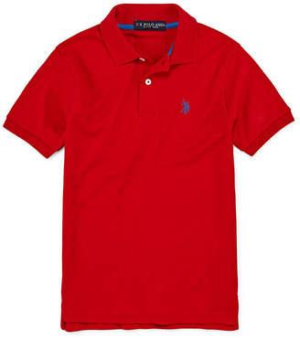 U.S. Polo Assn. Boys Johnny Collar Short Sleeve Embroidered Polo Shirt - Big Kid